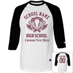 Custom Name Number School Baseball