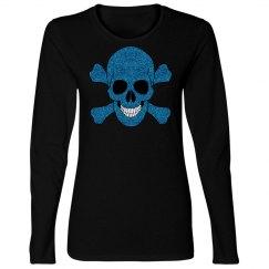 Faux Blue Glitter Skull And Crossbones Shirt