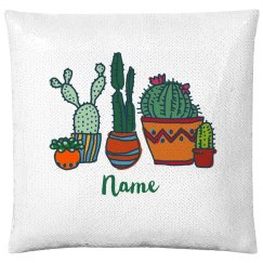 Cacti Custom Name Pillow