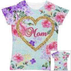 Golden Heart Mom Soft Pink & Purple Flowers Soft Green