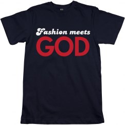 Navy Fashion Meets God Tee