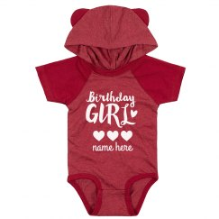 Birthday Girl Cute Custom Hooded Bodysuit