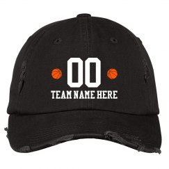 Team Name &Number Basketball Distressed Hat