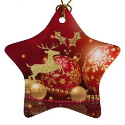 Red & Gold Ornaments Golden Reindeer & Holly