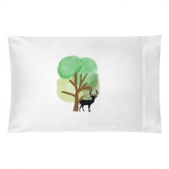 Tree and Elk pillowcase