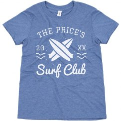 Custom Family Name Vintage Kid's Summer Surf Club Tee