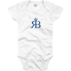 Red Bottoms Baby Onesie- Blue Logo