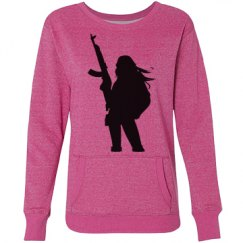 Pink Sweater with Girl and a Gun