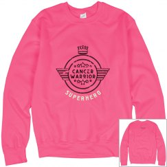 Womens Neon Pink Cancer Warrior Sweatshirt