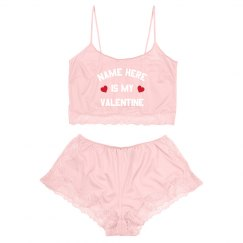 Custom Name is my Valentine Lingerie Lace Set