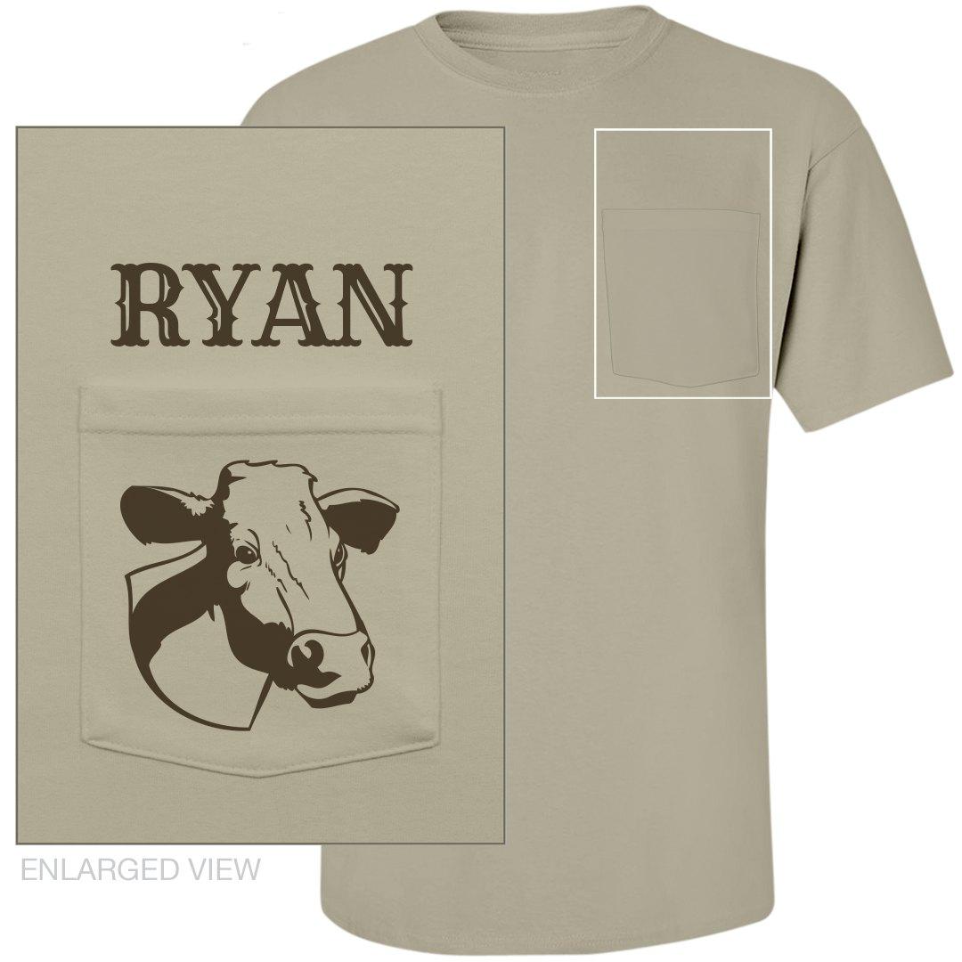 Funny Dairy Farm Farmer Unisex Midweight Cotton Pocket T Shirt