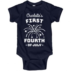 First Fourth of July Custom Fireworks Bodysuit