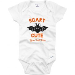 Scary Cute Bat Custom Text Onesie