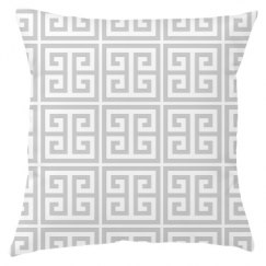 White Greek Key Pattern Throw Pillow Cover