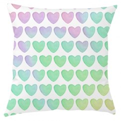 Pastel Hearts All Over Print Pillow