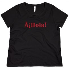 ¡Hola! Black Tee Red Text