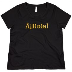 ¡Hola! Black Tee Yellow Text