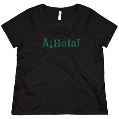 ¡Hola! Black Tee Green Text