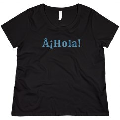 ¡Hola! Black Tee Light Blue Text