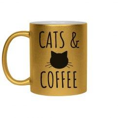 Cats & Coffee Metallic Mug