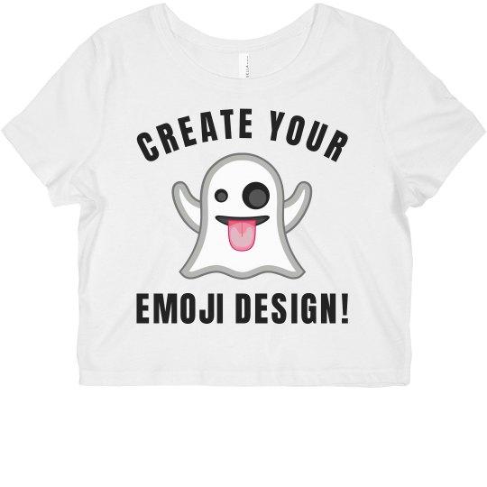 8f10a9e0b54dc Custom Emoji Tees Ladies Flowy Boxy Cropped T-Shirt