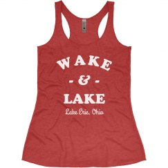 Wake & Lake Funny Custom Racerback Tank