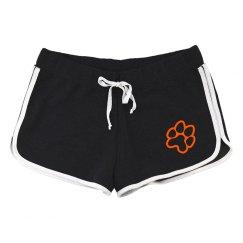 women's running shorts paw print