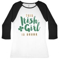 Metallic Drunk Irish Girl Raglan