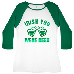 Green Metallic Irish Beer Raglan