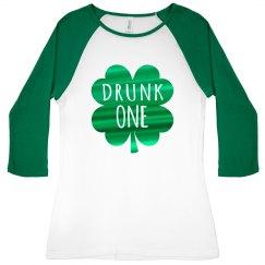 Green Metallic Drunk One Raglan