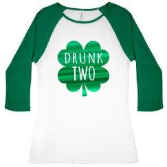 Green Metallic Drunk Two Raglan