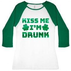 Green Metallic Drunk Irish Raglan
