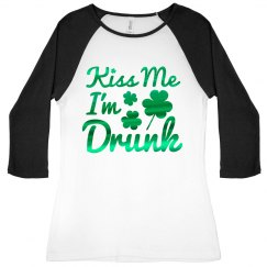 Metallic Script Kiss Me I'm Drunk