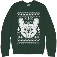 Green Corgi Ugly Sweater