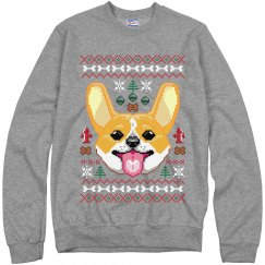 Grey Corgi Ugly Sweater
