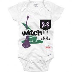 Infant girl witch onesie