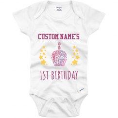 Glitter 1st Birthday Onesie