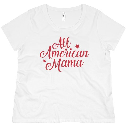 fccf68d2afb All American Mama 4th Of July Promo Ladies Curvy Plus Size Scoopneck T-Shirt