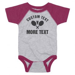 Custom Tennis Baby Text With Heart
