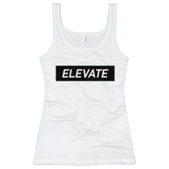 Elevate White Tank Top- Blk Logo