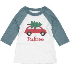Custom Car Christmas Tree Cute Toddler Holiday Raglan