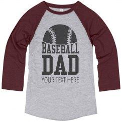 Custom Text Baseball Dad Tees