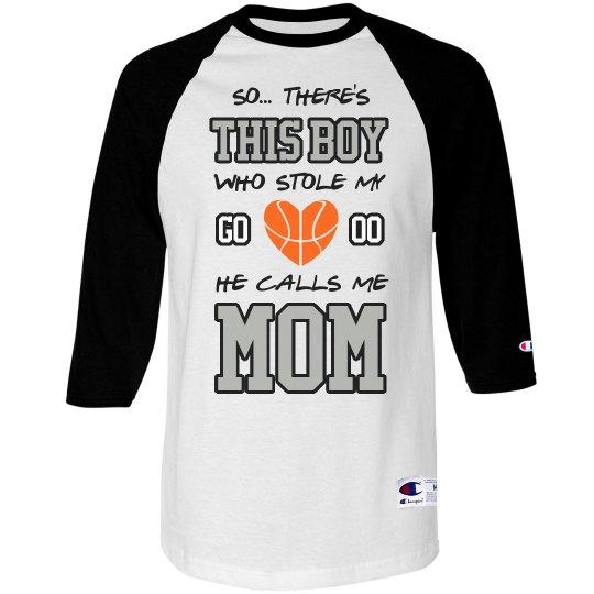 7bbe1579f21 Basketball Boy Mom Gift Unisex 3/4 Sleeve Raglan T-Shirt