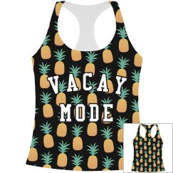 Vacay Mode Black Pineapples Print