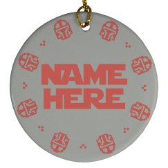 Pixel Custom Name Mandalorian Ornament