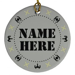 Pixel Spaceship Fighter Custom Ornament