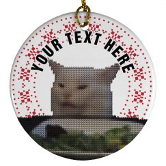Custom Knit Confused Cat Ornament