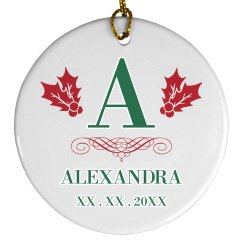 Custom First Initial Name Ornament