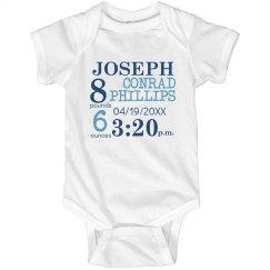 Newborn Info Onesie