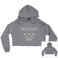 #Instadance cropped fleece hoodie (gray)